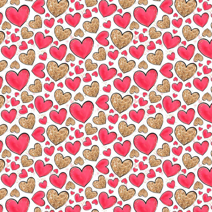J952 GOLD AND RED HEARTS PRINT
