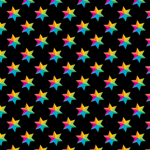 V9783 RAINBOW STARS BLACK BASE  PRINT