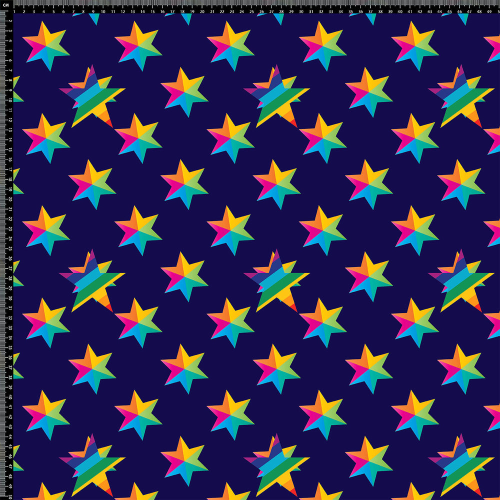 V9792 RAINBOW STARS BLUE BASE  PRINT
