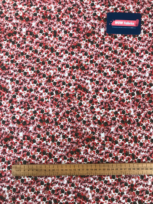 J106 Red Ditsy Micro Floral Print