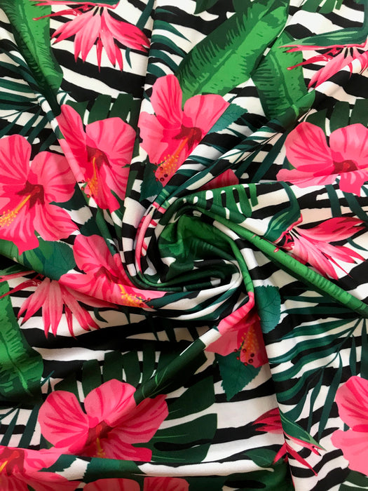 V4735 Pink Tropical Flower Stripe Print