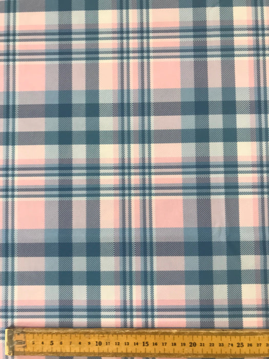 V280 Pink and Blue Plaid Tartan Print