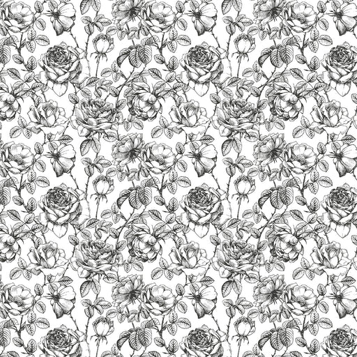 J133 Vintage black and white floral Print