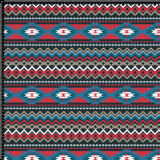 J137 Aztec red blue Print