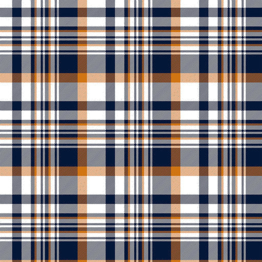 J142  White navy orange check plaid Print