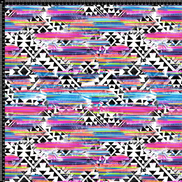 J176 TRIBAL MULTI COLOUR ABSTRACT PRINT