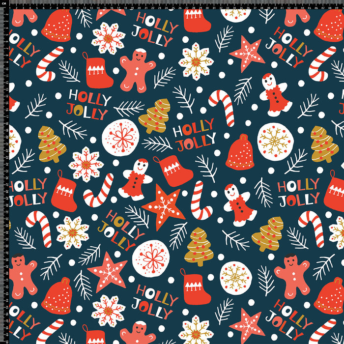 J199 CHRISTMAS HOLLY JOLLY  PRINT