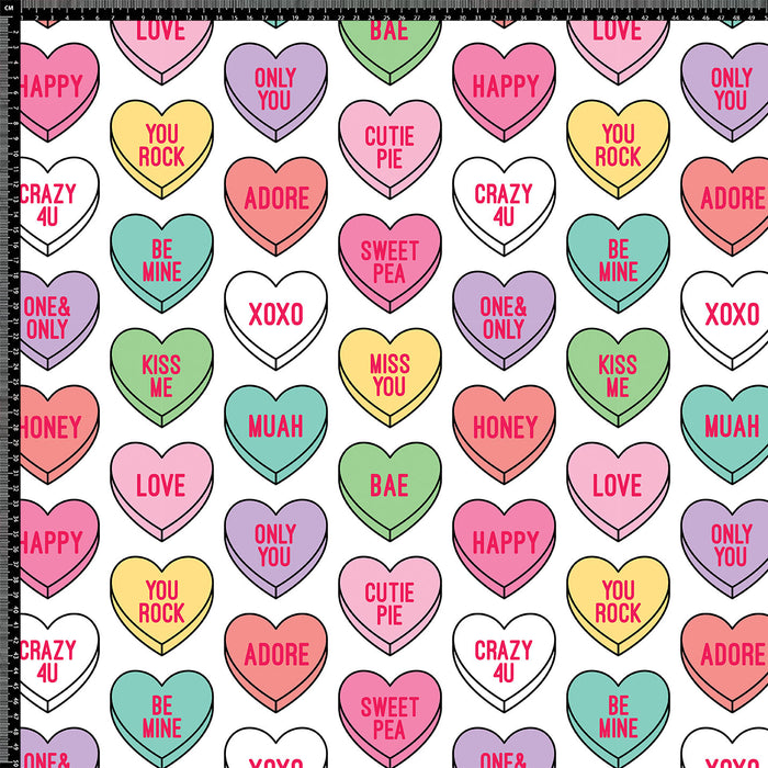 S291 COLOURFUL LOVE HEARTS PRINT