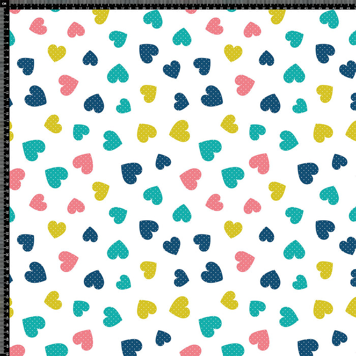 S294 MULTI POLKA DOT  HEARTS PRINT