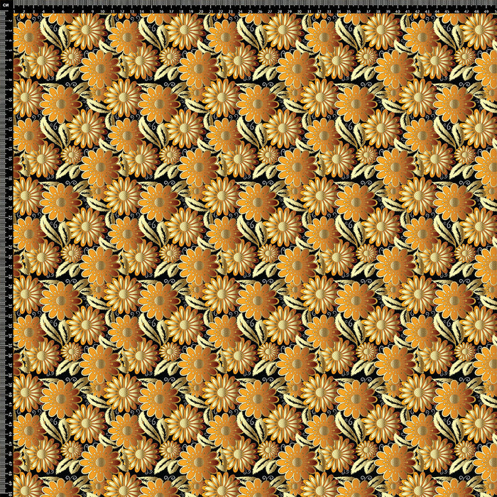 S635 GOLD ORANGE RETRO FLORAL PRINT