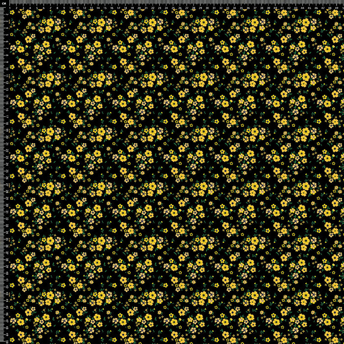 V246 DITSY YELLOW ON BLACK FLORAL PRINT