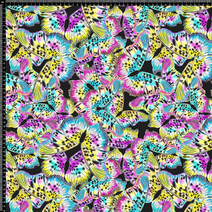 J1160 BLACK BASE COLORFUL BUTTERFLY PRINT