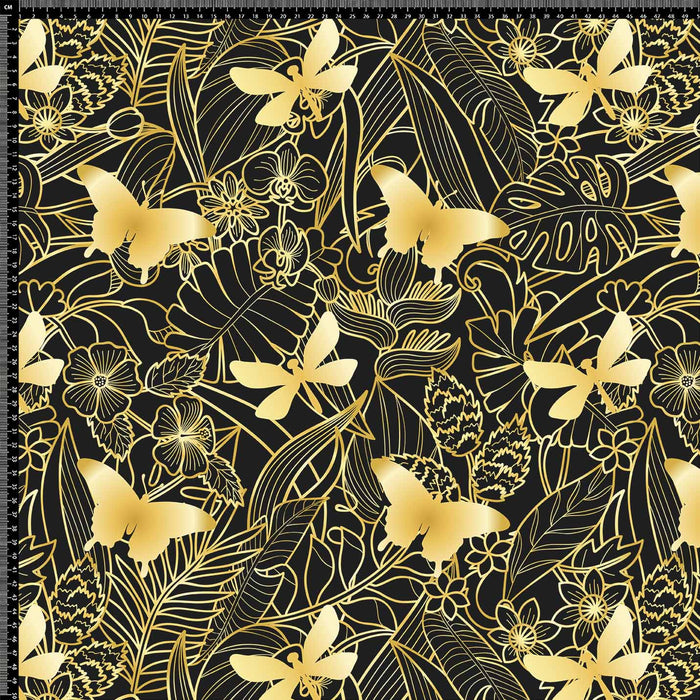 J1173  GOLD BLACK FLORAL BUTTERFLY PRINT