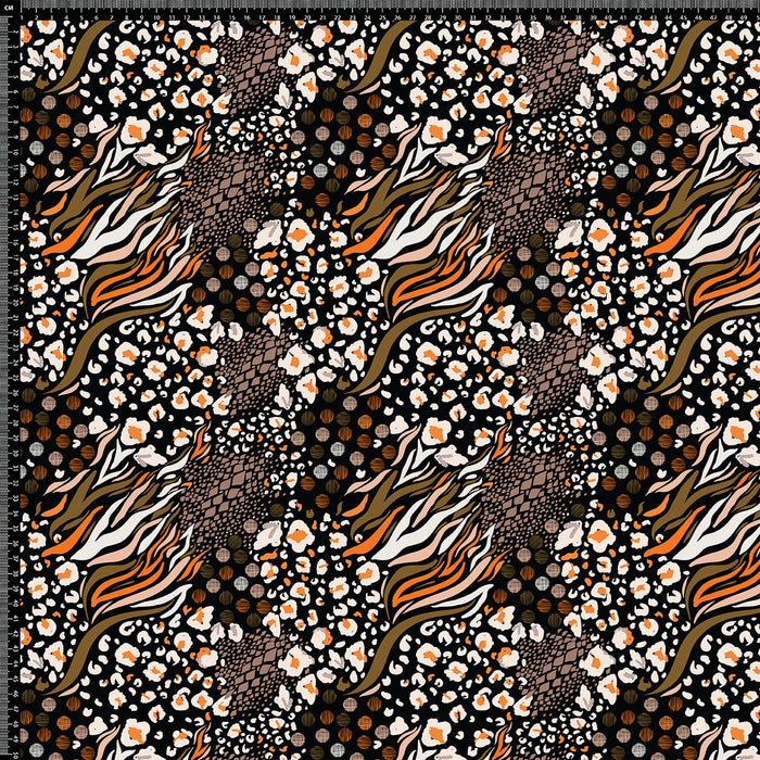J211  MIXED ANIMAL BLACK BROWN AND ORANGE PRINT