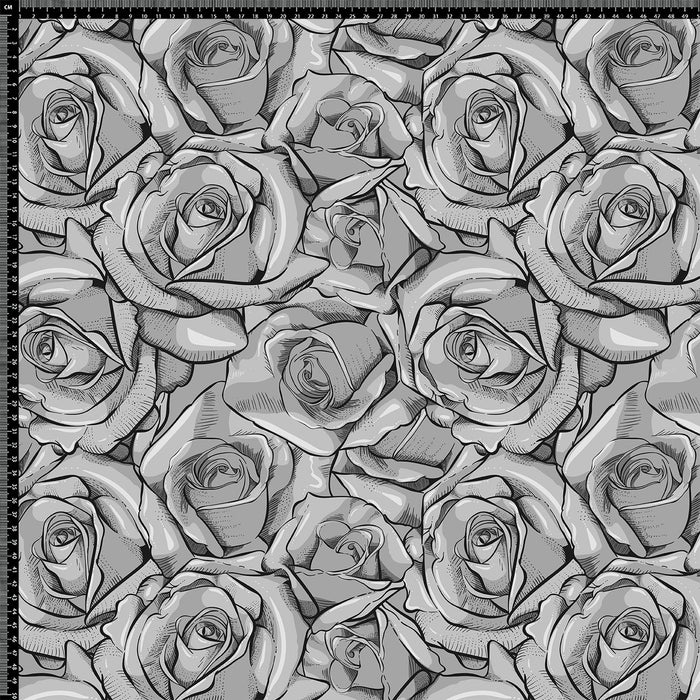 J339 BLACK HAND DRAWN ROSES PRINT