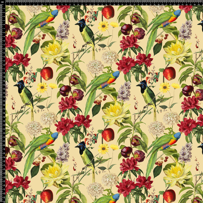 J447 TROPICAL BIRD FLORAL PRINT