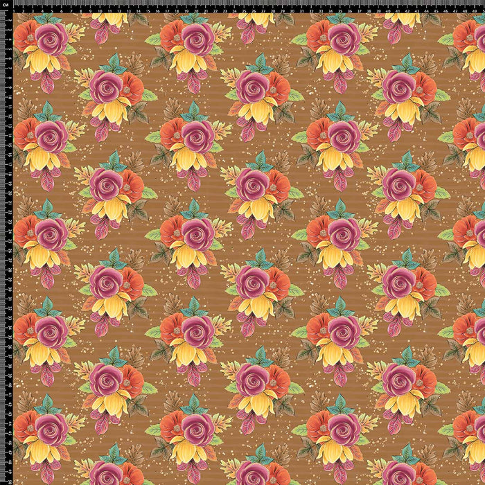 J578 BROWN BASE FLORAL PRINT