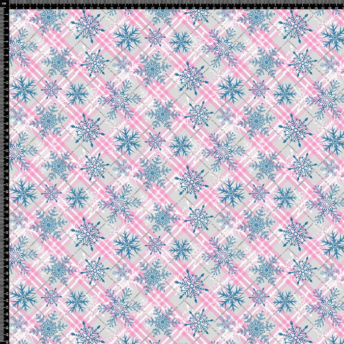 J612 PINK BLUE FLOWER PLAID PRINT