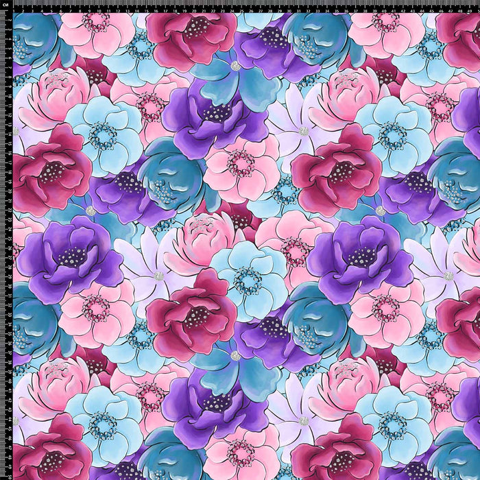 J613 MULTICOLORED ROSE FLORAL PRINT