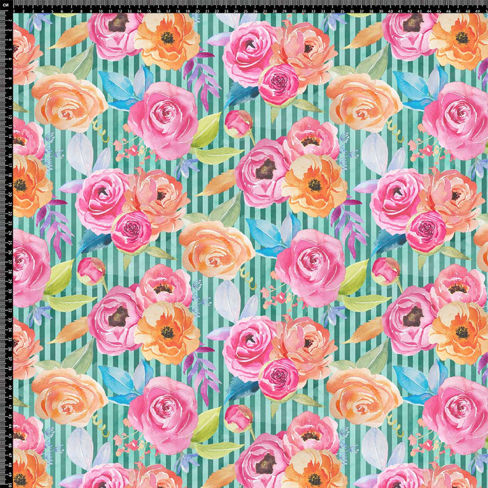 J667 GREEN STRIPE ROSE PRINT