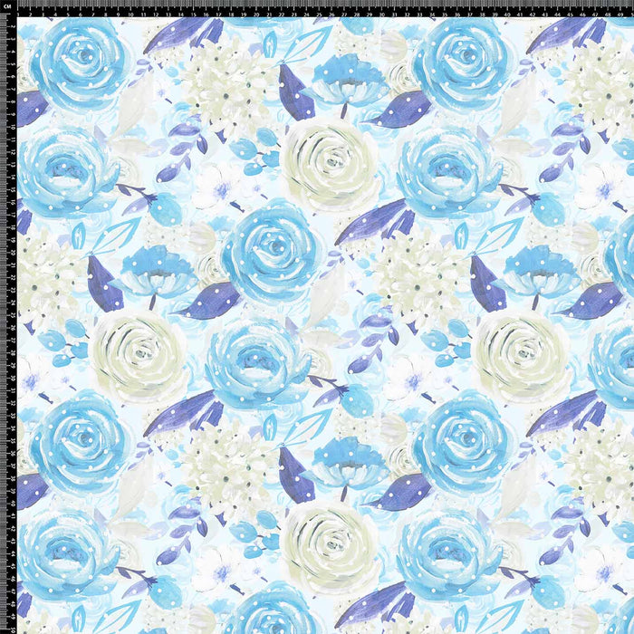 J674 DOTS AND BLUE ROSE PRINT
