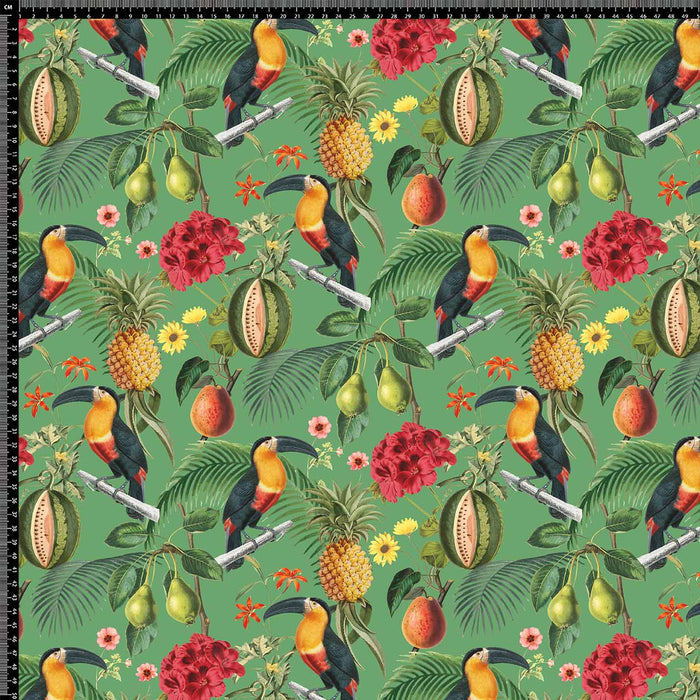 J680 GREEN BASE TROPICAL BIRD FLORAL PRINT