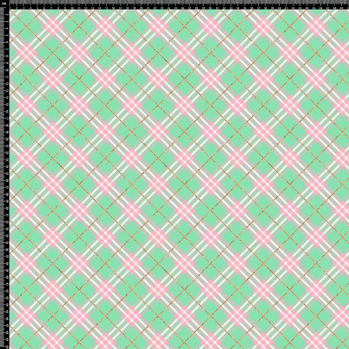 J841 GREEN AND PINK PLAID CHECK PRINT