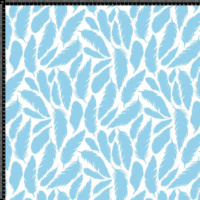 J862 WHITE BASE BLUE FEATHER PRINT
