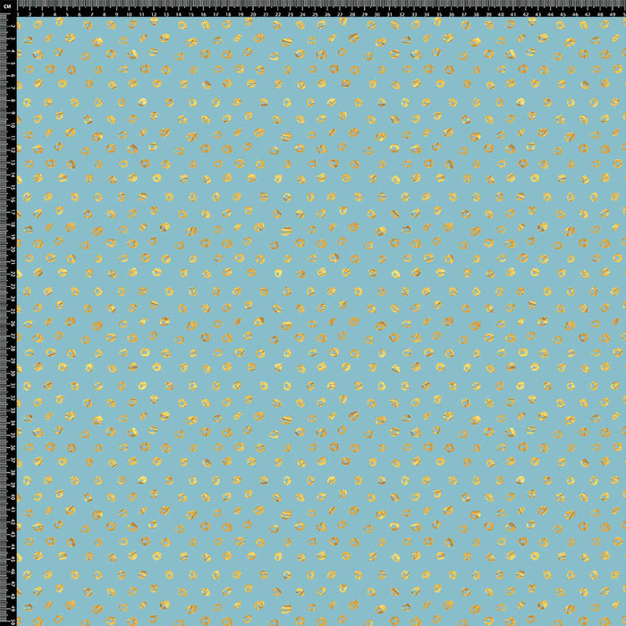 J866 BLUE BASE GOLD SPOTS DOTS PRINT