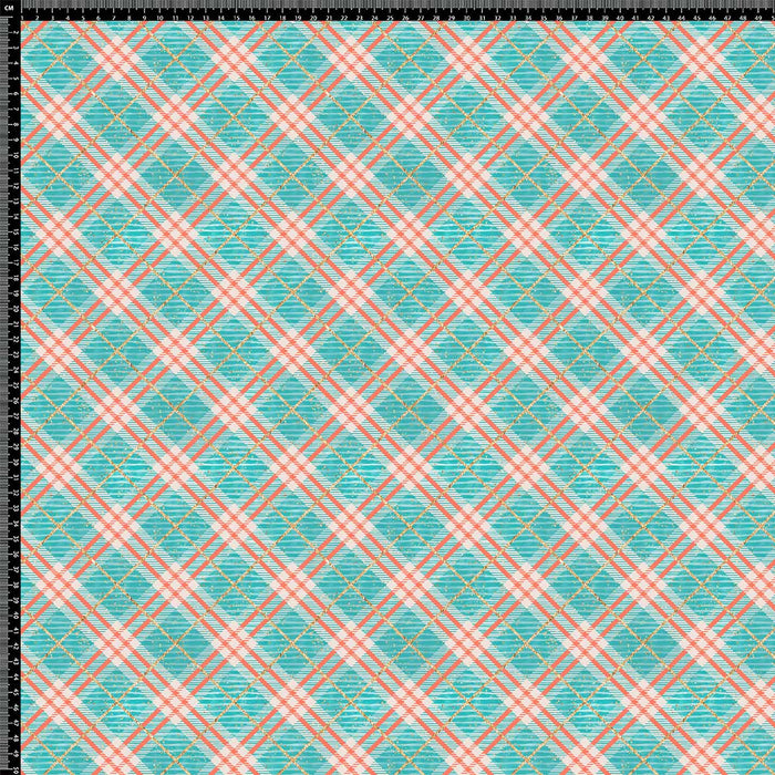 J927 BLUE AND RED PLAID PRINT