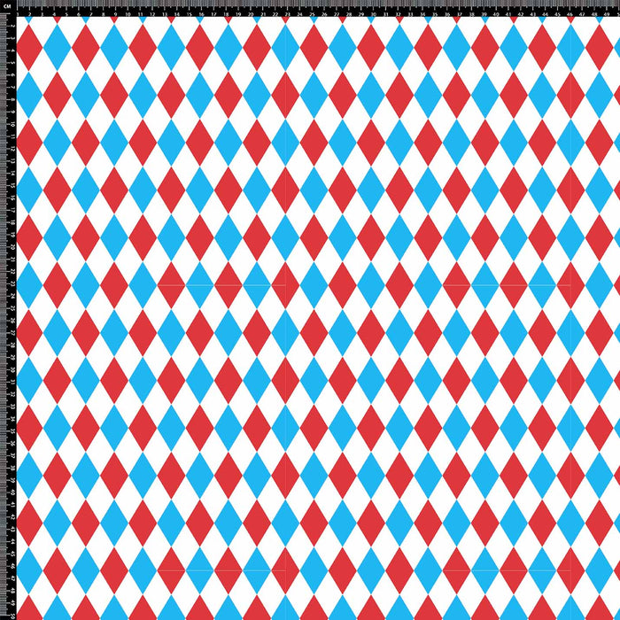 J992 HARLEQUIN RED AND BLUE PRINT