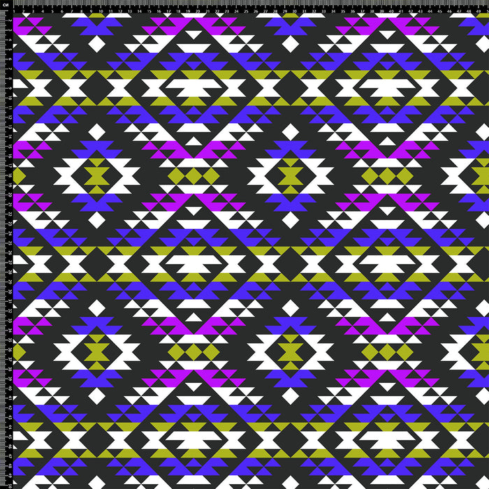S296 BLUE PURPLE GREEN AZTEC PRINT