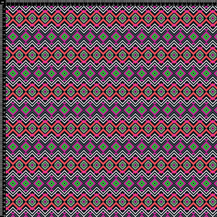 S306 RED PINK GREEN AZTEC PRINT