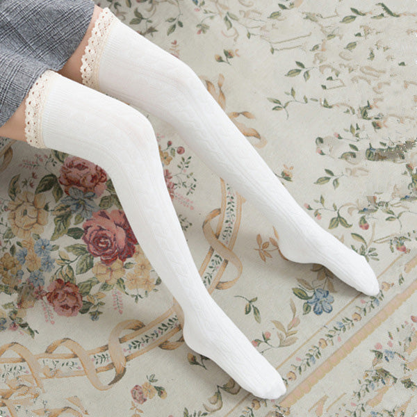 da86929ffb4 Winter Warm Sexy Lace Top Knee High Socks Female Long Stockings – covchy