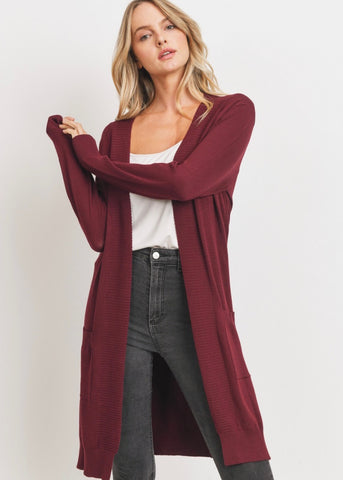 Sweater Knit Cardigan (burgundy)