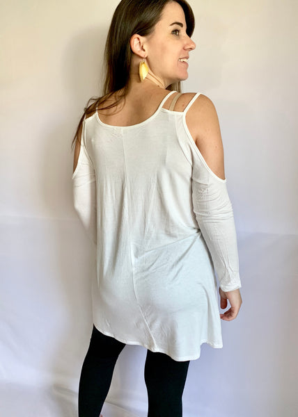 Cold Shoulder Tunic (White)