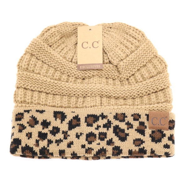 CC Leopard Print Beanie (3 colors available)