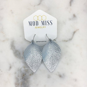 Silver Leather Petal Earrings