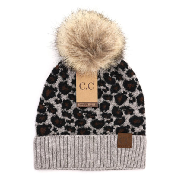 CC Leopard Fur Pom Beanies (3 colors)