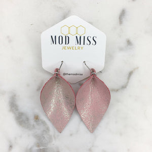 Dusty Pink Leather Petal Earrings