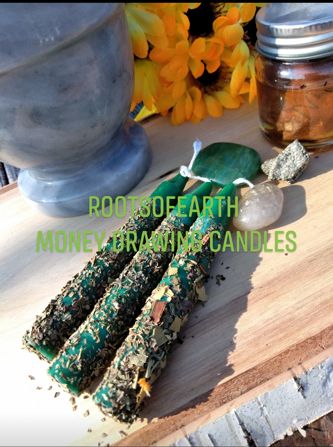 Money Drawing Conjured Intention Candles 3 Per set