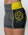 Women's Elite Compression Shorts - Gray/Black/Yellow