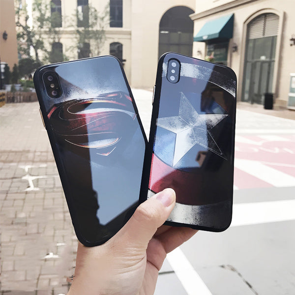 Captain America Men's Glass Anti-fall Mobile Phone Case For iPhone