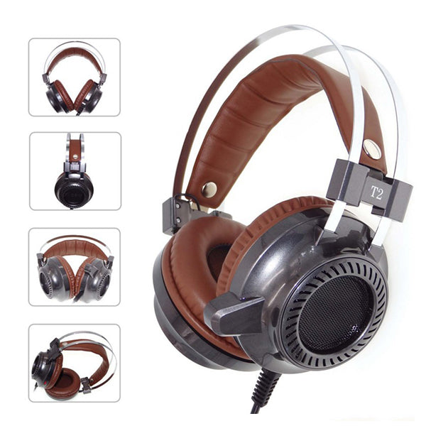 Vintage Illuminate Stereo Sound PC Gaming Headset with Mic Metal