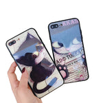 Cute Cat Glass Phone Case Anti-fall For iPhone
