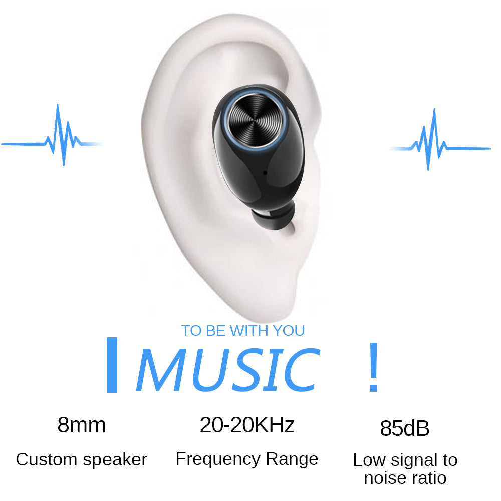 V6 Wireless Headphones Bluetooth 5.0 Noise Reduction Binaural HD Call with 2600mAh Charging Box for Mobile Phones