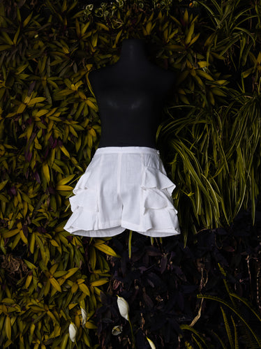 Frilly White Shorts - Kapad