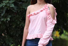 Pleated Cold Shoulder Top - Kapad