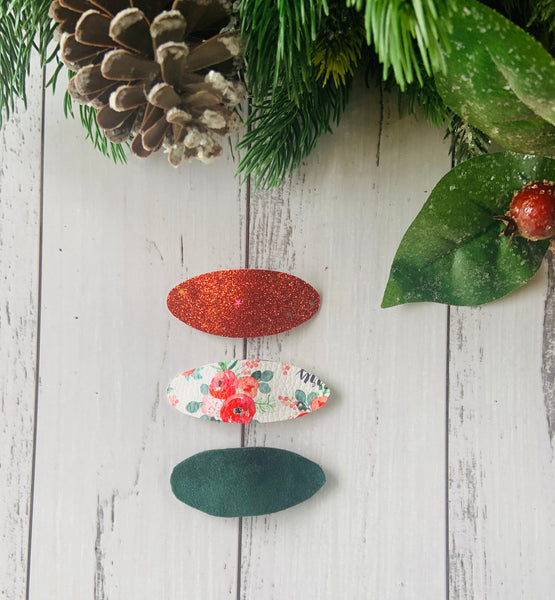 Merry Christmas floral snap clip trio