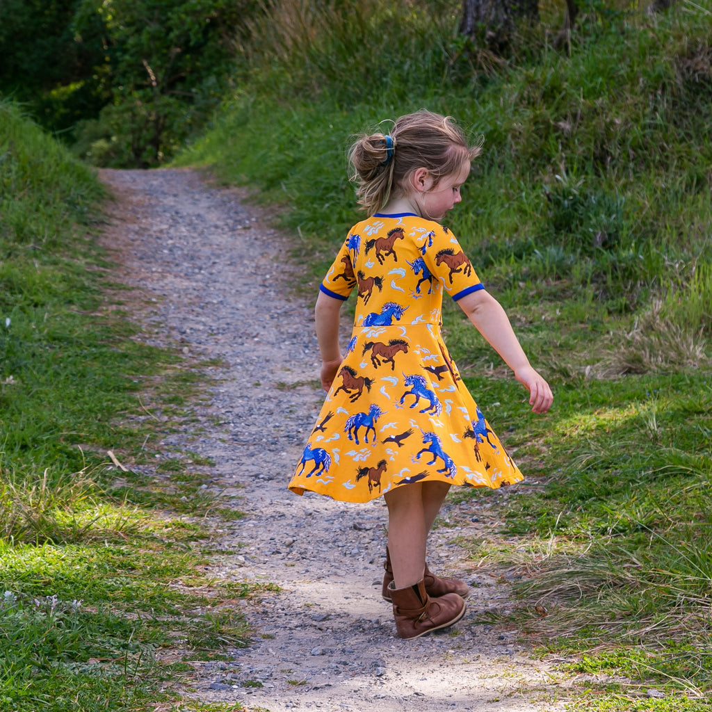 retro mustard girls dress